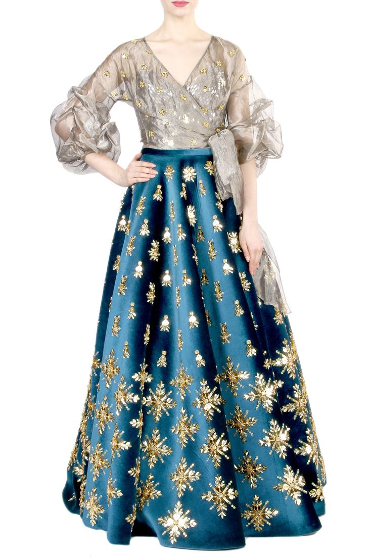 Lehenga with wrap-style blouse and bralette