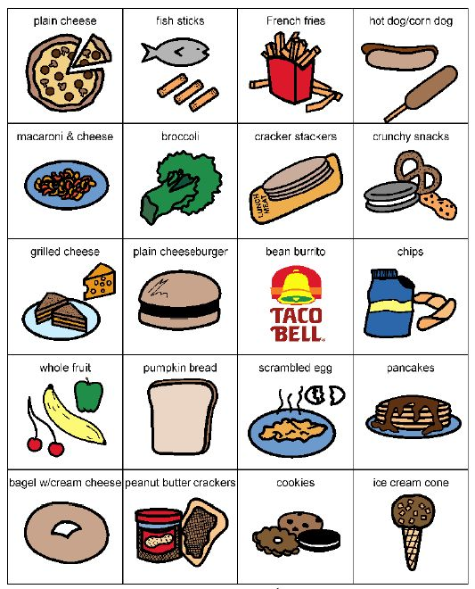 Living Well With Autism - Food and cooking - schedules and picture cards