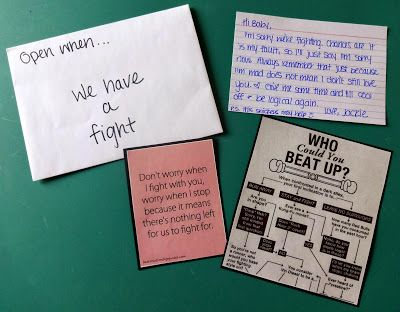 Open when we have a fight This letter included a letter and some fun pictures. I also included in the letter some things we should do so we can communicate effectively.