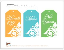 Free Printable Luggage Tags Or Brown Bag Lunch Tags Crafts