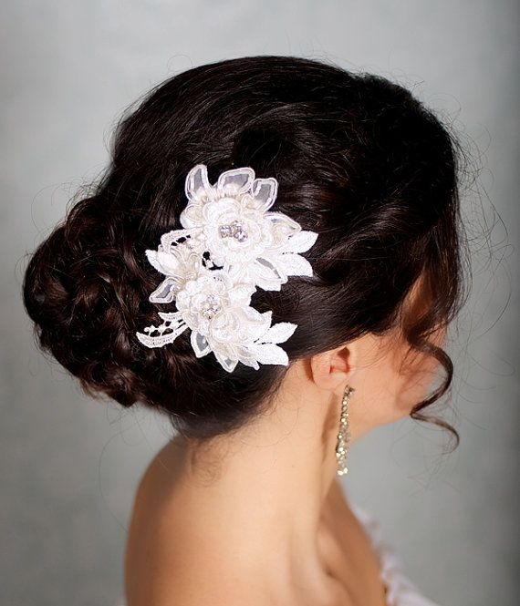 Could cut the similar flowers off the hem of my mom's dress and make a hair clip for my half up do... could be my something old/be sweet  Lace Ivory Hair Flowers, Bridal Flower Headpiece, Bridal Hairpiece, Ivory Hair Clips, Wedding Hair Accessories - CARLA