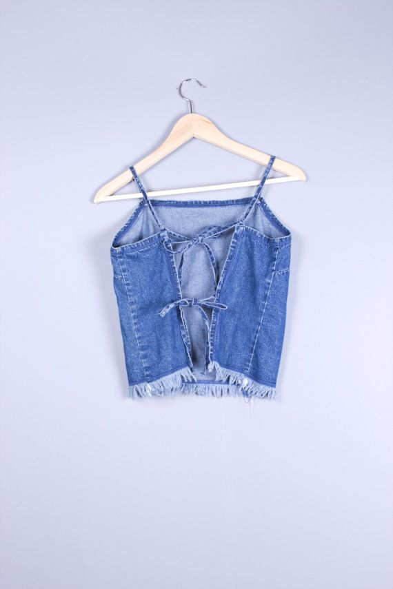 90s Vinage Denim Halter Open Back Crop Top by TwiceLux on Etsy, $16.00