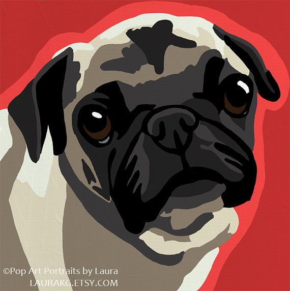 Pug Pop Art Dog Painting Print Colorful by LauraKG on Etsy