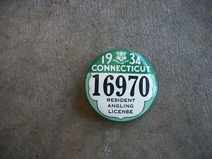 a vintage 1934 connecticut resident hunting license angling fishing trapping pin