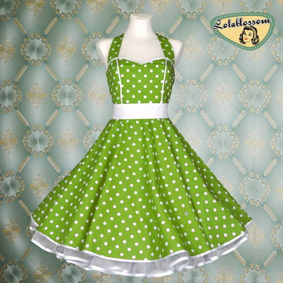 50's vintage dress full skirt green white polka dots made to order by Lola Blossom Clothing on Etsy - $99.00