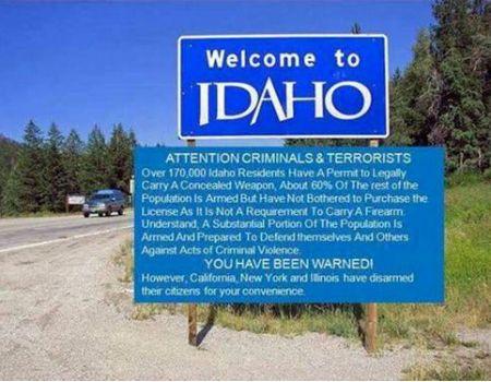 ДОБРО ПОЖАЛОВАТЬ В ШТАТ АЙДАХО! Картинки, юмор, Оружие, Айдахо, США, фейк, Photoshop