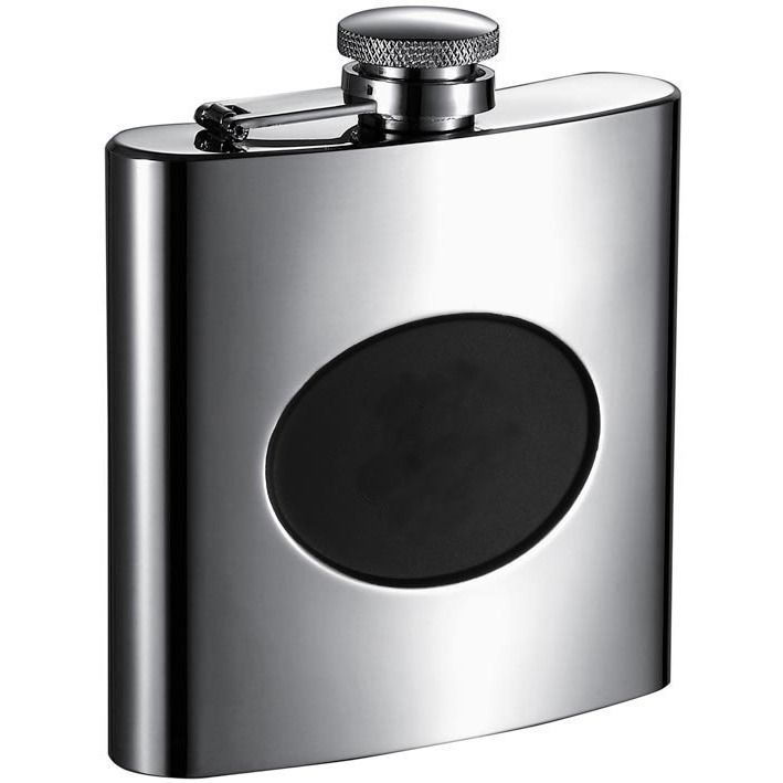 Visol Romare Polished Liquor Flask with Engraving Plate - 6 ounces
