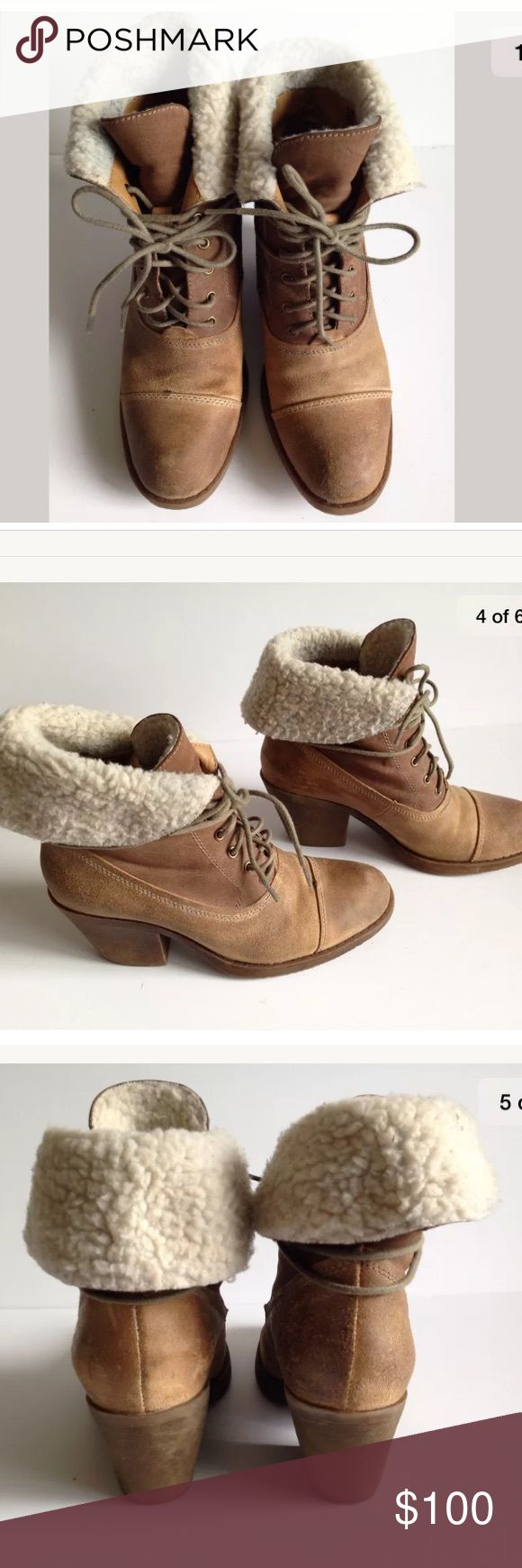 Nordstrom Miz Mooz Beige Ankle Boots with Fur 6 Beige ankle boots Fur detail  6  Heel hight 2.75in (7cm)  Worn a few times   On the inside there is a bit of color on the fur from jeans but can be removed with washing.  Otherwise in great condition Nordstrom Shoes Ankle Boots & Booties