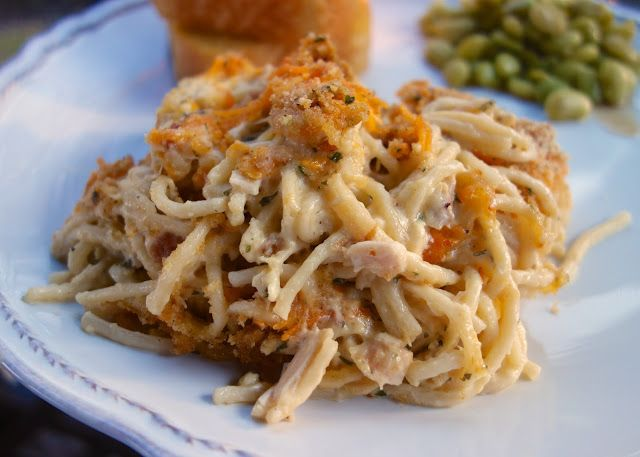 Cheesy Chicken Spaghetti       4 cups cooked, chopped chicken (1 whole rotisserie chicken) 12 oz spaghetti, cooked and drained 2 cans Cream of Chicken soup (I used 98% fat...