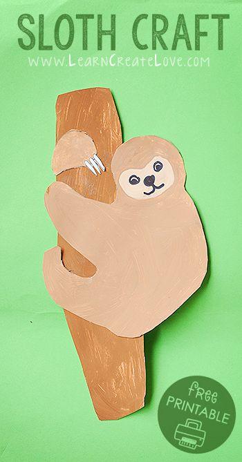 Printable Sloth Craft Rainforest Crafts Jungle Crafts