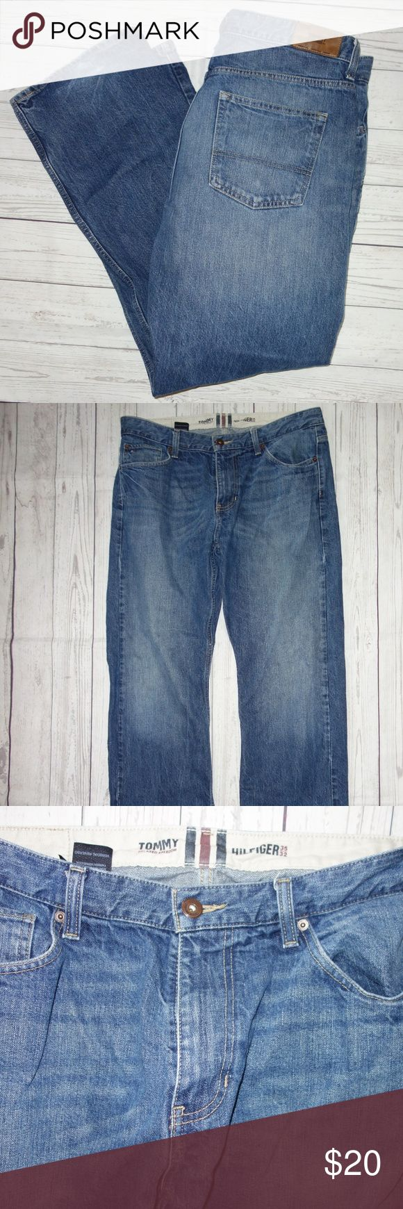 Tommy Hilfiger Relaxed Freedom Jeans Men Tommy Hilfiger Relaxed Freedom Jeans Men 35 32 Med Blue Trendy Fade Preowned in good condition Button and zip fly Trendy fade  Broken in and comfy but no stains, rips or tears Mild cuff wear - see photos Waist is 35 Inseam is 32 Classic 5 pocket styling Thank you for looking! Tommy Hilfiger Jeans Relaxed