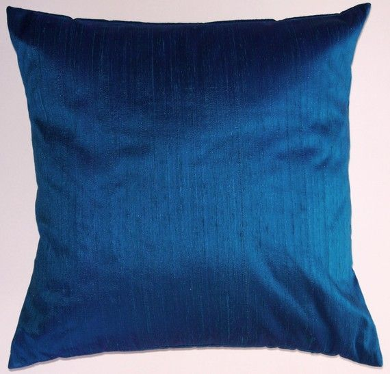 Royal Blue Silk Throw Pillow Cover - Iridescent Blue Simply Silk Cushion Cover - 16 x 16 ...