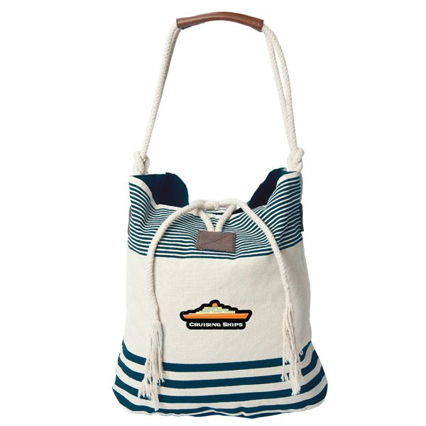 Stylish Striped Cotton Tote (From $12.38) - This stylishly designed and nautically inspired tote contains 10 ounce cotton, double rope handles and a rope loop/tie closure. A smaller zippered pocket inside allows you to store your valuables.  Perfect for everyday use or a day at the beach! Probably not ideal for use as a hat, but that goes without saying....right?