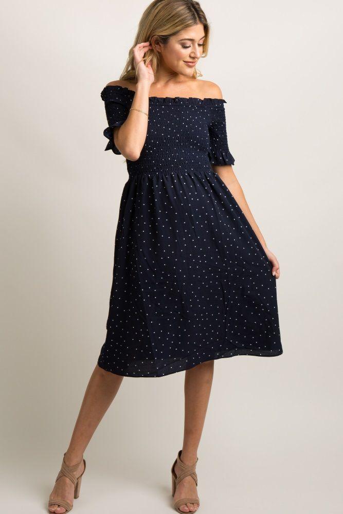 7ba9a6c970554 Navy Polka Dot Smocked Maternity Dress in 2019 | My Bump/Nursing ...