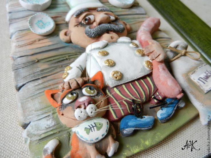 """Купить Панно """"Колбаска"""" - зелёный, панно, котик, Колбаска, повар, кухня, Керамика"""