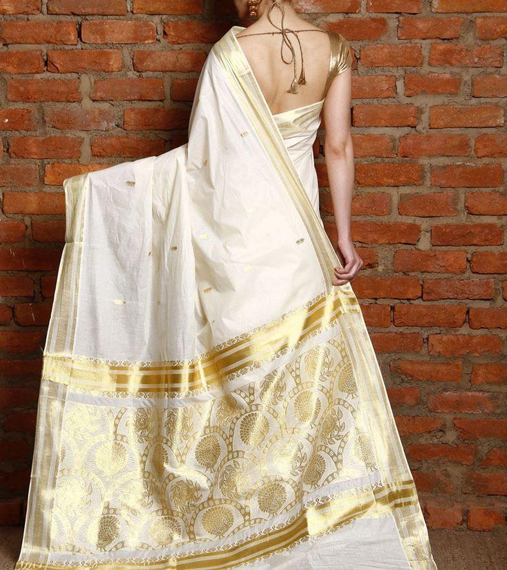 Off White & Golden Kerala Saree with Kasavu Zari Work