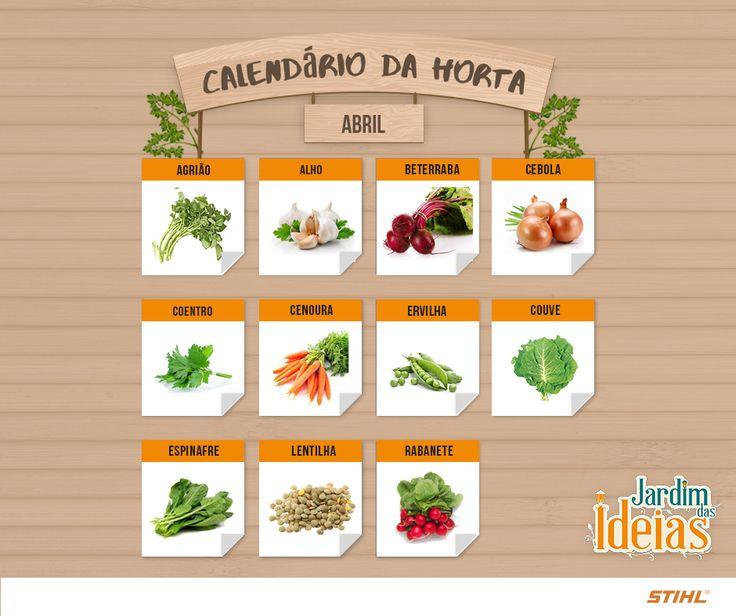 Calendário de Abril com dicas de cultivo de verduras, legumes e frutas.
