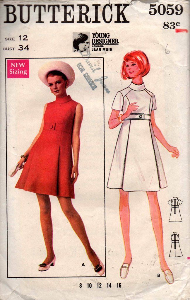 Butterick 5059 JEAN MUIR Womens A Line Coatdress 60s Vintage Sewing Pattern Size 12 Bust 34 inches