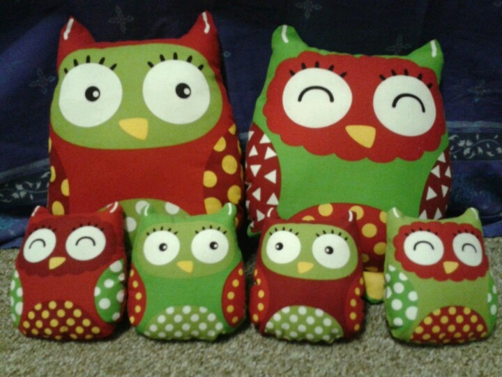 My family of christmas owls I made<3