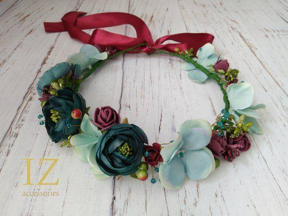Turquoise Light Blue Burgundy Bridal Flower crown wreath Boho Woodland Rustic wedding headpiece Halo baby headband Flower girl Bridesmaids
