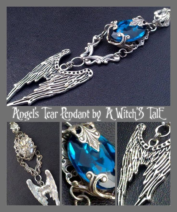 """""""Angel's Tear Pendant"""" by A Witch's Tale Instagram: https://www.instagram.com/awitchstale/   #jewels #angelstear #pendant #awitchstale #angel #tear #gemstone #craft #witch #amulet #wings #accessory #silver #crystal #gothic #dark #necklace"""