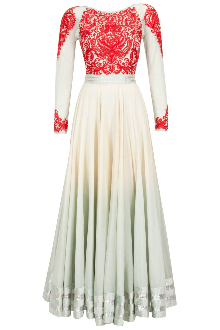 Ivory and pale blue embroidered anarkali kurta set available only at Pernia's Pop-Up Shop.
