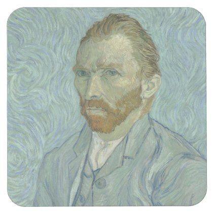 VINCENT VAN GOGH – Self portrait 1889 Square Paper Coaster | Zazzle.com