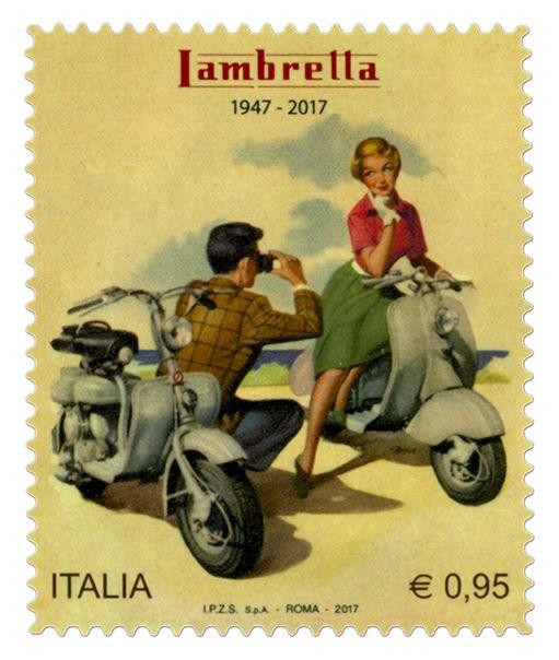 """Fancobollo ordinario appartenente alla serie tematica """"le Eccellenze del sistema produttivo ed economico"""" dedicato alla Lambretta, nel 70° anniversario della produzione"""