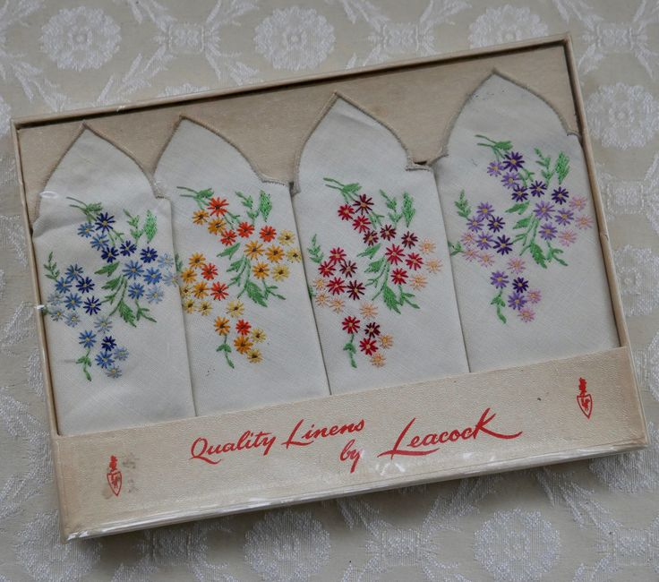 Linen Napkins, Leacock Linens, Tea Napkins, Floral Design, Afternoon Tea, Embroidered Linen, Set Of Four, Vintage Table Linen, Boxed Napkins by RetroEtCetero on Etsy https://www.etsy.com/listing/552149618/linen-napkins-leacock-linens-tea-napkins