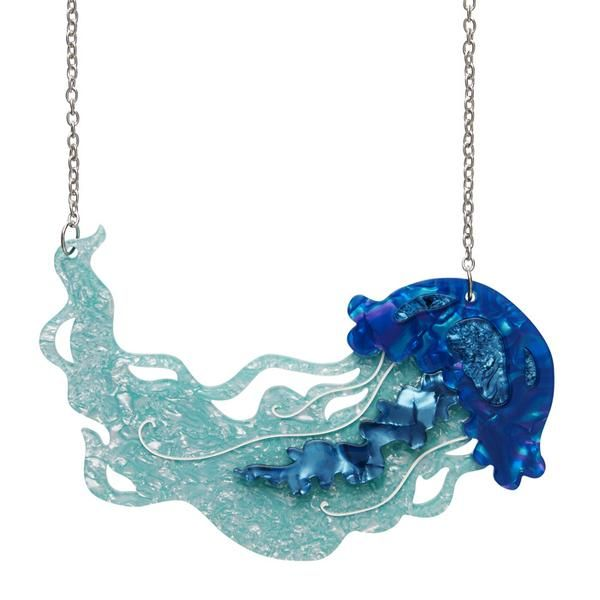"""Erstwilder Collectible Slippin' Under Jellyfish Necklace. """"Whether it's a fluther or a smack, these beautiful, often iridescent creatures are known to pack a mighty big sting"""""""