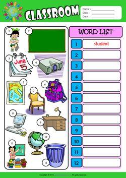 Classroom Write the Words ESL Vocabulary Worksheet