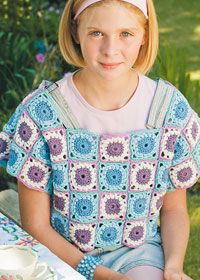 Girls granny square top freebie pattern using Rowan Cotton Glace, lovely yarn. Thanks so for share xox