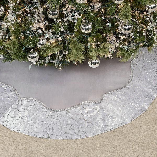Silver Scrolls Christmas Tree Skirt By Kurt Adler Christmas Tree Skirt Christmas Tree Tree Skirts