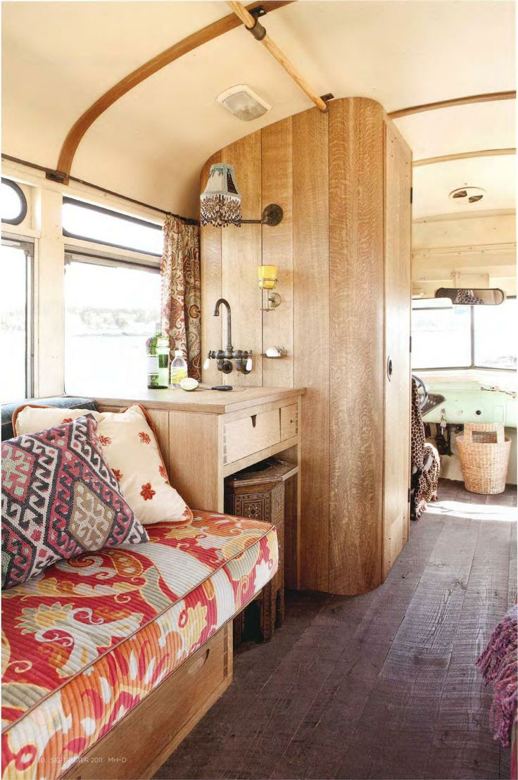 Roadtrip bus fitted out by linekin bay woodworkers in maine home design this is definitely more my style for a road trip camper