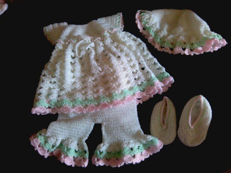 Crocheted baby romper set