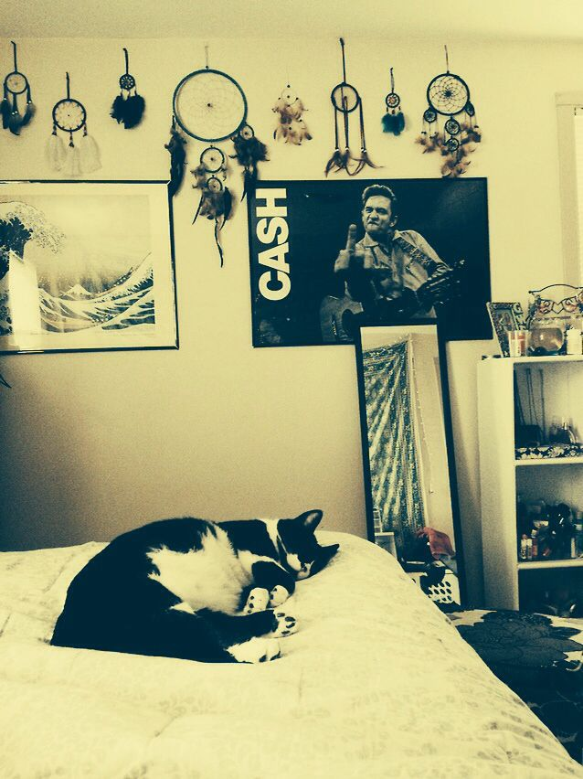 Omg johnny cash giving the bird this was literally the for Apartment bedroom ideas hipster
