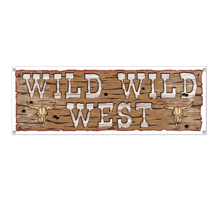 "Club Pack of 12 Brown and White Wild Wild West"" Sign Banner Party Decorations 60"""