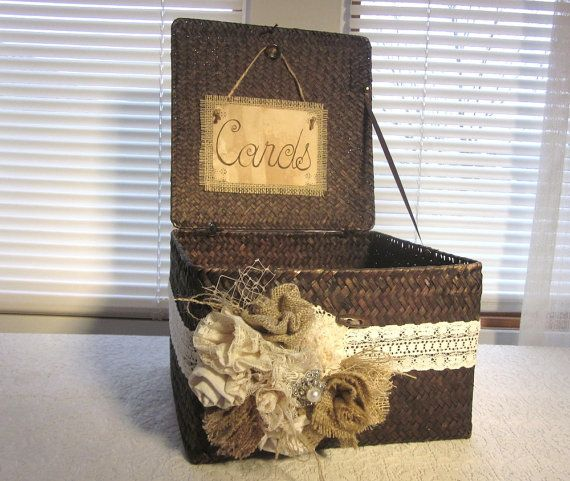 Burlap and Lace Wedding Card Holder by Thequirkycorncrib on Etsy, $60.00