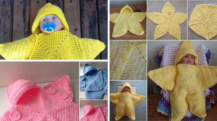 DIY Manta Estrela de Crochê para Bebe