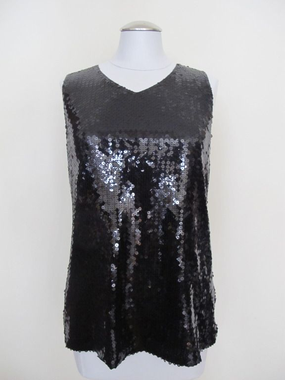 Classic Chanel Black Sequin Evening Blouse | From a collection of rare vintage blouses at http://www.1stdibs.com/fashion/clothing/blouses/