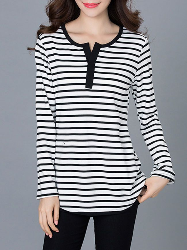 Henley Collar Brief Striped Plus Size T-Shirt