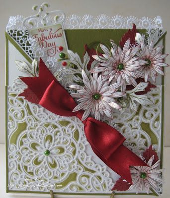 pamscrafts: decorative corner and flowers: Christmas Cards, Christmas Crafts, Justrit Stamps, Cards Pam Lov, Cards Flowing, Aster Stamps, Decor Blossoms, Delicate Flowers, Blossoms Corner