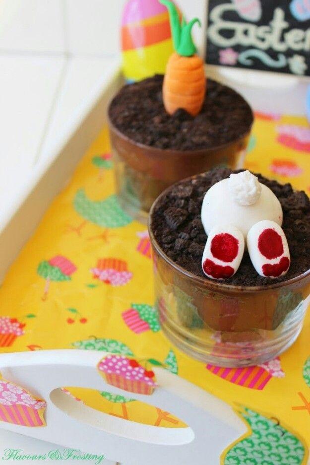 Oreo Brownie Dessert Pots for Easter www.flavoursandfrosting.com/easter