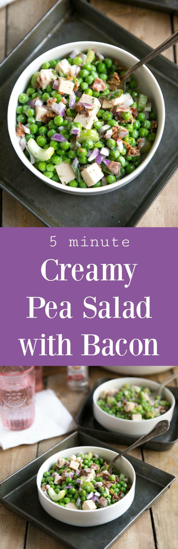 5 Minute Creamy Pea Salad with Bacon!! All you need is 5 minutes and a handful of simple ingredients to make this best ever pea salad! #sponsored @recipeasyfromhormelfoods #bacon #salad #football #easyrecipe #peasalad #cheese