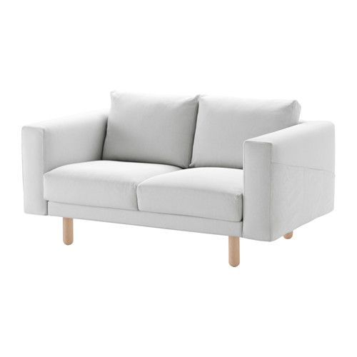 IKEA - NORSBORG, Loveseat, Finnsta white, birch, , Big or small, colorful or neutral. The sofa comes in many shapes, styles, and sizes so that you can easily find one that suits you and your family.A soft and comfortable sofa filled with high resilience foam that supports your body and quickly regains its shape when you stand up.Slightly higher armrests make it extra comfortable to curl up in the corner of the sofa.The cover is easy to keep clean as it is removable and can be machine…