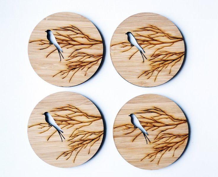 Bird branch - Bamboo Coasters by HALLO JANE