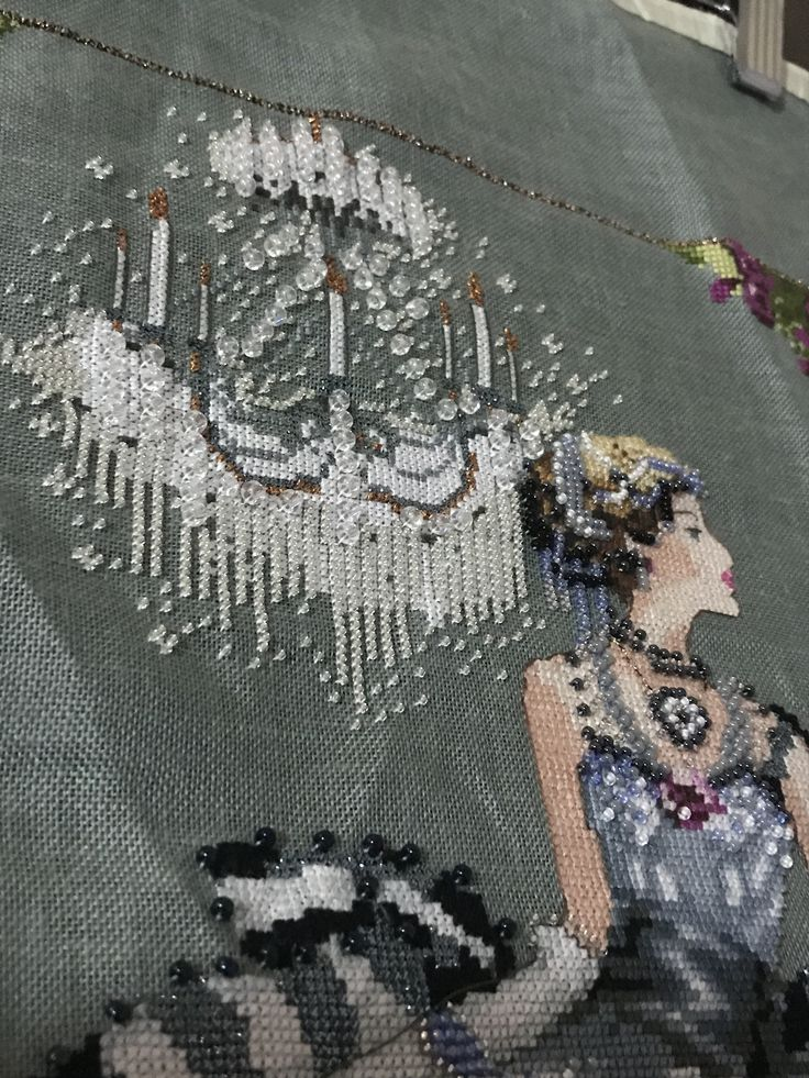 """Close up of """"Crystal Symphony"""" finished xstitch"""