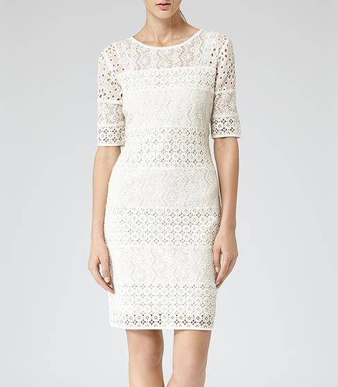 Womens Ivory Crochet Detail Dress - Reiss Isabella