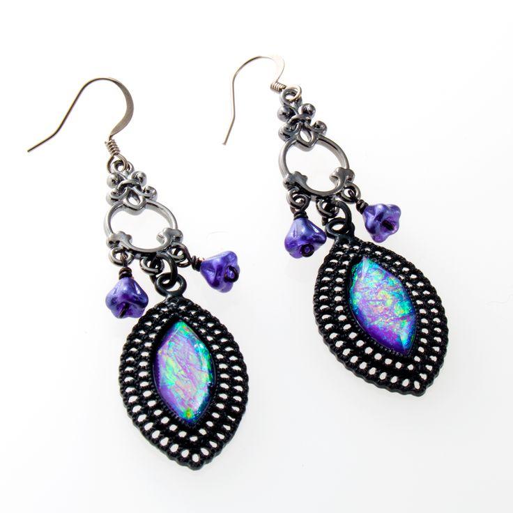 Unique Rabbit Jewellery - Black Violet Earrings, $25.00 (http://www.uniquerabbitjewellery.com.au/black-violet-earrings/)
