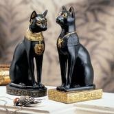 Found it at Wayfair - Egyptian Cat Goddess Bastet Statue in Matte Black (Set of 2)